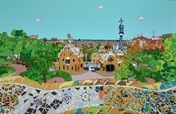 Barcelona, Parc Guell by Dylan Izaak -  sized 55x36 inches. Available from Whitewall Galleries